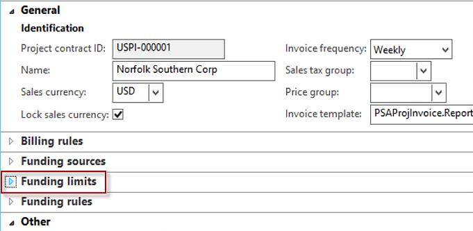 funding limits tab dynamics ax 2012