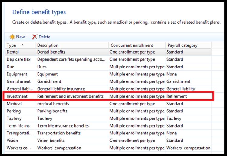 Define benefit types dynamics ax