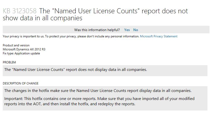 Named User License Counts Dynamics AX hotfix